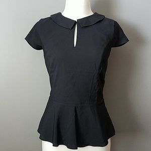 Silky Peplum Blouse-Small